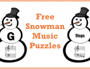 free snowman music puzzles flashcards